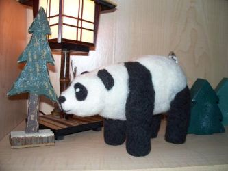 Felted Panda by Messenger777