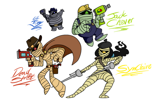 Quad Mummies [Binary Pixels] by CosmicAscension