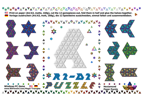 Magic-Triangles Paper-Hexiamond-Gamepieces-01a by 8DFineArt