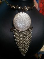 Chainmaille Medallion Necklace by BacktoEarthCreations
