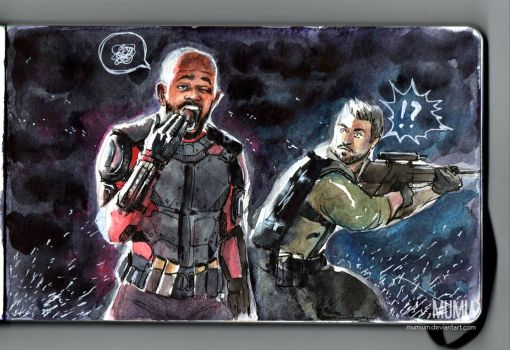 Bored Deadshot and Rick Flag watercolor fanart by Mumium