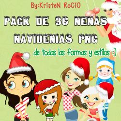 Pack de 36 Nenas Navidenias PNG by RoohEditions