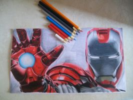 Iron Man Drawing by Tenemur