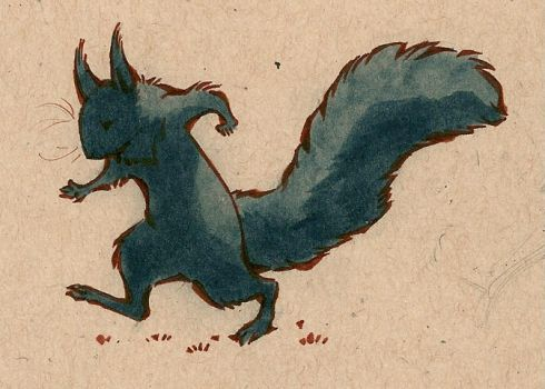 little black squirrel by luve