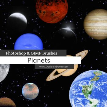 Planets Photoshop and GIMP Brushes by redheadstock