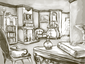 Tarragon Manor -Basil's Study Sketch
