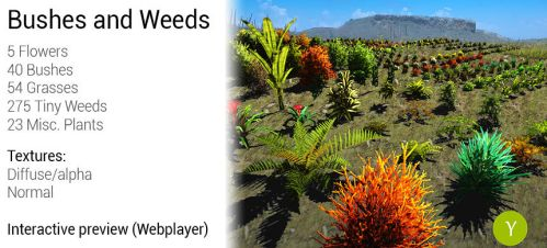 Unity: Bushes And Weeds by Yughues