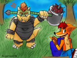 Request: Crash Bandicoot and Bowser by SingerHeart16