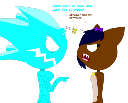 Lizz and CJ having a Fight by LuckyEmerald269