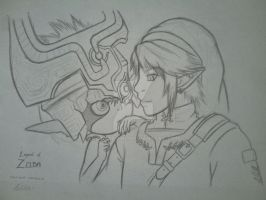 LoZ Twilight Princess - Link and Midna by KattaxGirl