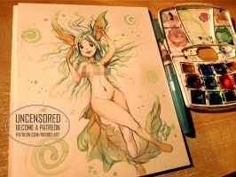 Watercolour painting Pokemon Leafeon Anthro by tikopets