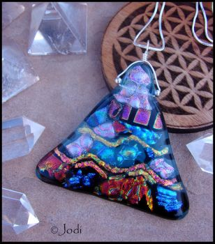 Menkaure Pyramid - Fused Glass Pendant by andromeda