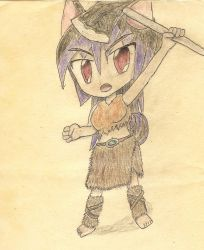 chibi barbarian wolf-girl by JofDragon
