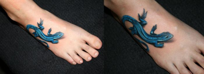 Blue gecko Tattoo by 2Face-Tattoo