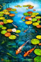 Koi in lily pond by pencilkiller