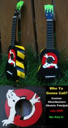 Custom Ghostbusters Ukulele by AmyTheFreak