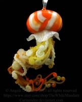 Orange and White Jellyfish Pendant by carmendee