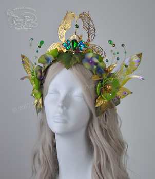 Green Absinthe Fairy Queen Crown by FaeryAzarelle