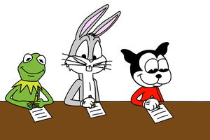 Kermit Bugs n Bimbo writing letter to Santa Claus by MarcosPower1996