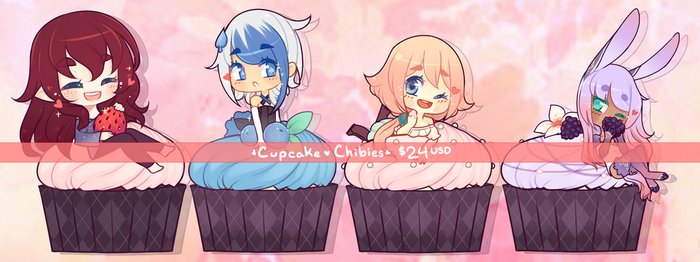 Cupcake Chibi Commissions : OPEN $24 EACH by LucciolaCrown