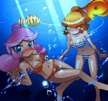 Raffine and Arle swimming request to Raffine52 by chacrawarrior