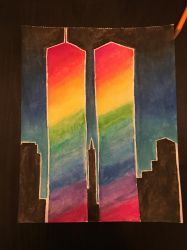 Twin Towers Watercolors by silvermist999