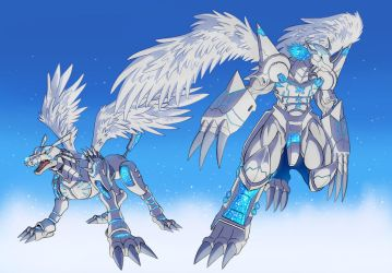 Merciful MetalGarurumon WarGreymon by Noki001