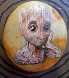 BB groot painted rock by ahembe