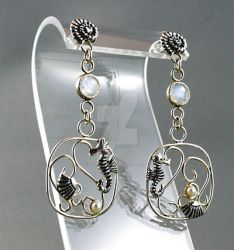 Sea-horse and rainbow moonstone dangle earrings by nataliakhon