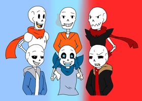 Undertale Underswap and Underfell Sans and Papyrus by Barbarathebunny