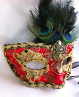 Red and Gold Brocade Masquerade Mask by DaraGallery