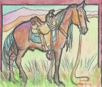 ACEO waiting Bay horse by jupiterjenny