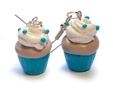 Polymer Cupcake Earrings by InvisibleSnow