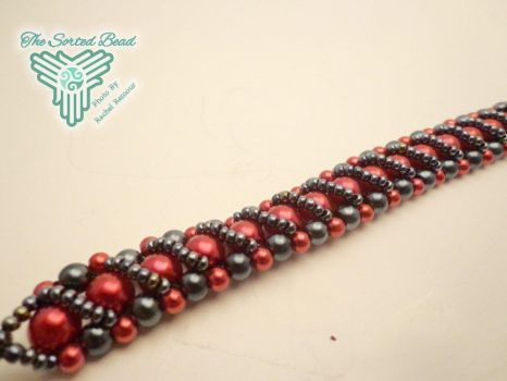 Red and Black Pearl RAW Bracelet by TheSortedBead