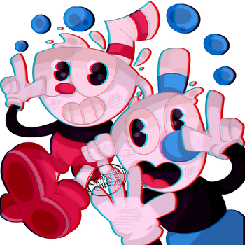 Cuphead and Mugman~ by CrypticCipher