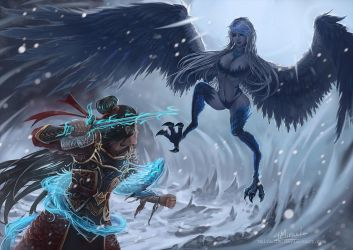 Condemning the Heavens: Ice harpy (Commission) by TMiracle