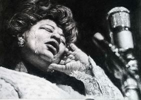 Ella Fitzgerald charcoal drawing (better pic) by Helsartpage