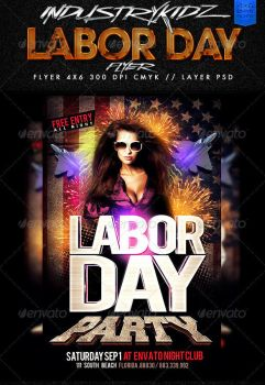 Labor Day Party Flyer Template by Industrykidz