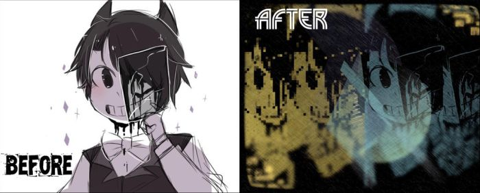 Before and after bendy human by NickH2O11