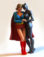 Supergirl and catwoman by durvasas
