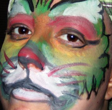 Painted Face Cat by purplegoldfish