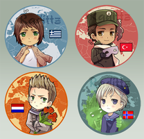 Hetalia Button set 4 by Radittz