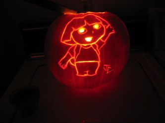Dora the Explorer Pumpkin by DestineChaos