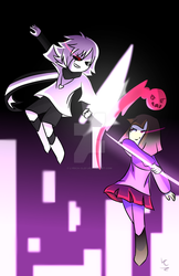 Bete Noire VS. Cross!Chara by Lyrica-Clef