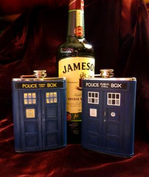 Doctor Who TARDIS flasks by Whyamithewerewolf