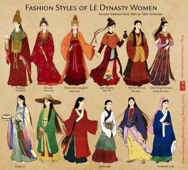 Fashion Styles of Le Dynasty Women by lilsuika