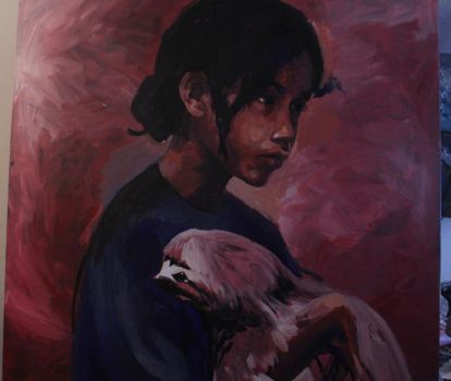 Work in progress - girl with sloth by mihepu