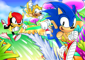 Mighty and Ray with Sonic by sianic