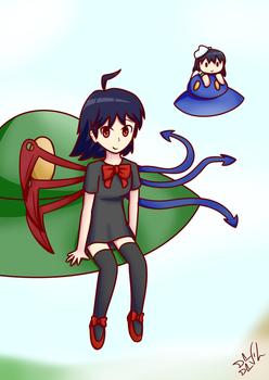 Nue and her lil plush by De-D3vil