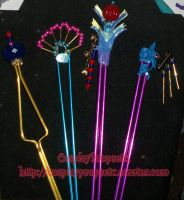 Lulu Hair Sticks Cosplay Props by CosplayPropsEtc